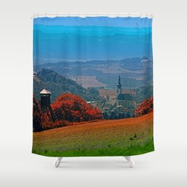 A hunting perch, a village and some vivid scenery Shower Curtain
