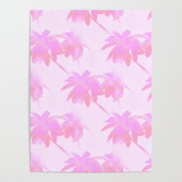 Pink Palm Trees Coastal Pattern Poster