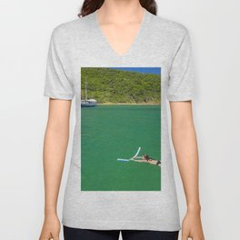 Woman swimming in green waters in Brazil Unisex V-Neck