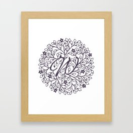 W - monogrammed initial W print Framed Art Print