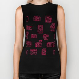 Camera: Pink - pop art illustration Biker Tank