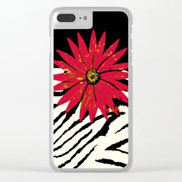 Animal Print Zebra Black and White and Red flower Medallion Clear iPhone Case