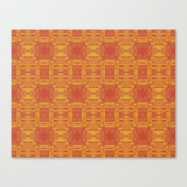 Mirror Pattern Tribal Style 2.0 -  Orange & Red - Warm colors Canvas Print