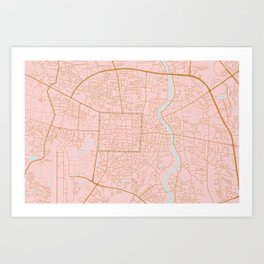 Pink and gold Chiang Mai map, Thailand Art Print