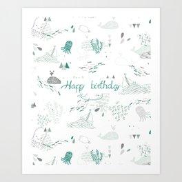 Under the seas (white) Art Print