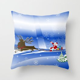 Santa Claus with christmas deer and presents Throw Pillow