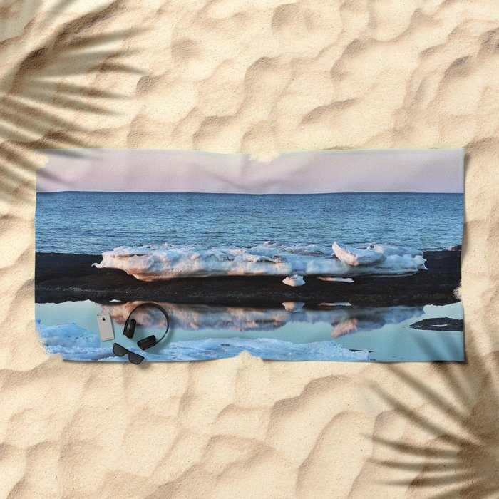 Ice Reflected Beach Towel