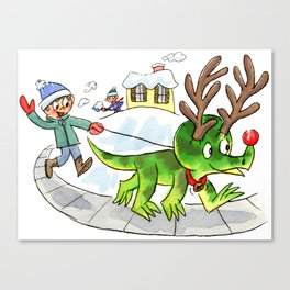 Rudolph the Red-Nosed Triceratops Canvas Print