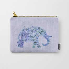 Blue Elephant Mixed Media Art Carry-All Pouch