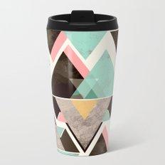 Geometric triangle color pattern Metal Travel Mug