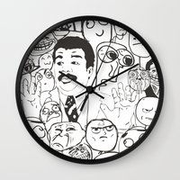 meme Wall Clocks featuring Meme P&B by neicosta