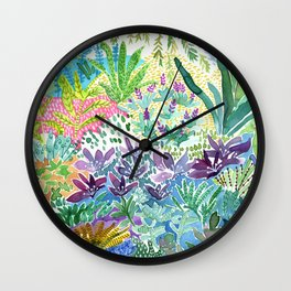 Tropical Garden Watercolor Wall Clock