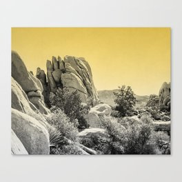 Yellow Fog Covered Mountains Canvas Print