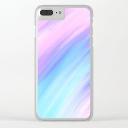 Girly Modern Pink Blue Purple Paint Smudges Clear iPhone Case