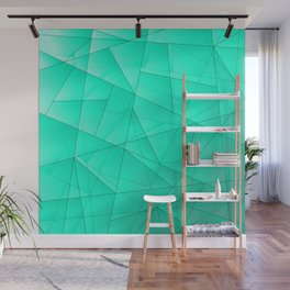 Glowing contrasting celestial fragments of crystals on triangles of irregular shape. Wall Mural