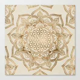 Flower of Life in Lotus - pastel golds and canvas Canvas Print