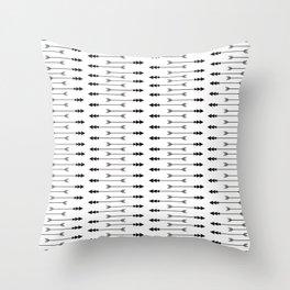 Black + White Arrows -n- Stripes Throw Pillow
