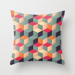3d Cube Geometric Abstract Pastel Squares Pattern  Throw Pillow