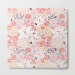 Pink Japanese pond florals Metal Print