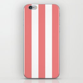 Light coral pink - solid color - white vertical lines pattern iPhone Skin