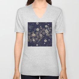 Vintage Japanese Papers: Midnight Blue Floral Pattern Unisex V-Neck