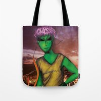 rio de janeiro Tote Bags featuring RIO DE JANEIRO by Alien Style