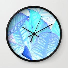 Blue Croton Tropical Leaves Wall Clock