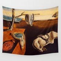 salvador dali Wall Tapestries featuring Salvador Dali - The Persistence of Memory by VAWART