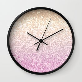 Champagne Gold and Pink Glitter Ombre Wall Clock