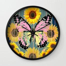 ABSTRACT PINK BUTTERFLY TEAL GARDEN SUNFLOWER Wall Clock