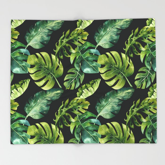 Watercolor Botanical Tropical Palm Leaves on Solid Black Background Throw Blanket