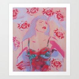 Polka girl Rose Art Print