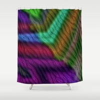 knit Shower Curtains featuring Knit by RingWaveArt