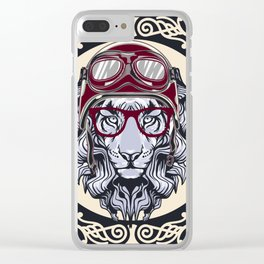 Lion With helmet rider Clear iPhone Case