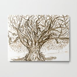 Love Tree Graphite Illustration Metal Print