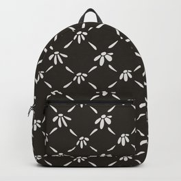 Floral Geometric Pattern Chocolate Brown Backpack