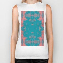 Living Coral Turquoise Shibori Tye Dye Biker Tank