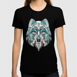 Wolf illustration green/red T-shirt