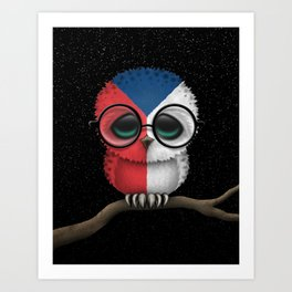 Baby Owl with Glasses and Czech Flag Art Print