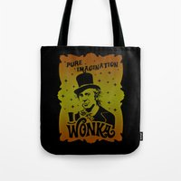 willy wonka Tote Bags featuring Gold Ticket by Buby87