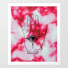 Hamsa Horus Eye Pink Red Marble Art Print