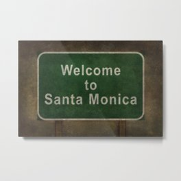 Welcome to Santa Monica roadside sign illustration Metal Print