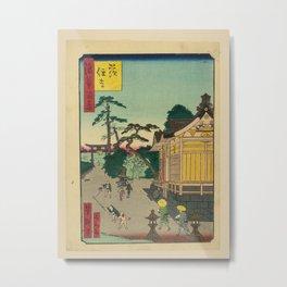 Ichiyôtei Yoshitaki - 100 Views of Naniwa: Ibara Sumiyoshi Shrine (1860s) Metal Print