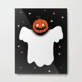 Scary Halloween evil pumpkin Ghost Metal Print