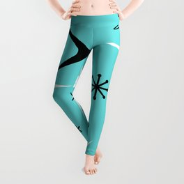 Vintage 1950s Boomerangs and Stars Turquoise Leggings