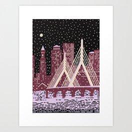 Zakim in the Snow - Boson Landmarks Art Print