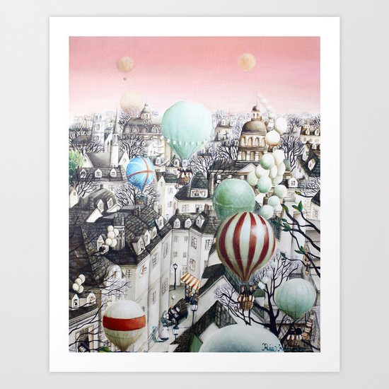 Balloon travel Art Print