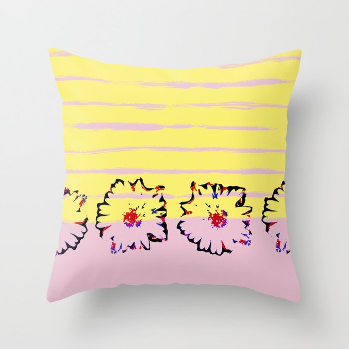 Stripes and flowers Throw Pillow