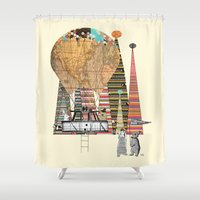 adventure Shower Curtains featuring adventure days by bri.buckley