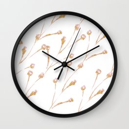 Delicate Blossom Pink + Gold Glitter Wall Clock